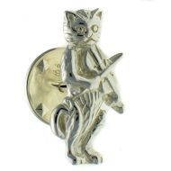 Cat Fiddle Sterling 925 Silver Lapel Pin