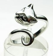 Sterling Silver Cat Head and Tail Torque Ring