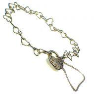 Bracelet Heart Link, Filigree Padlock, Sterling Silver