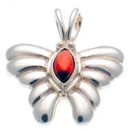 Butterfly Silver Pendant Garnet