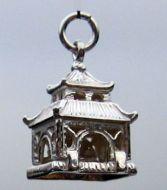Pagoda silver charm