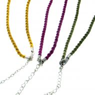Satin Cord Necklet Yellow Only Silver Fittings